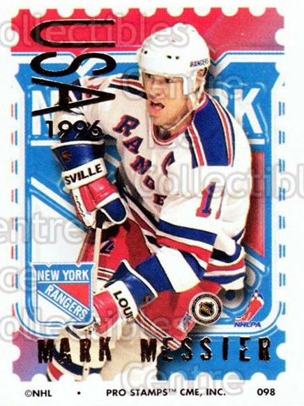 1996-97 NHL Pro Stamps #98 Mark Messier<br/>60 In Stock - $2.00 each - <a href=https://centericecollectibles.foxycart.com/cart?name=1996-97%20NHL%20Pro%20Stamps%20%2398%20Mark%20Messier...&quantity_max=60&price=$2.00&code=50282 class=foxycart> Buy it now! </a>