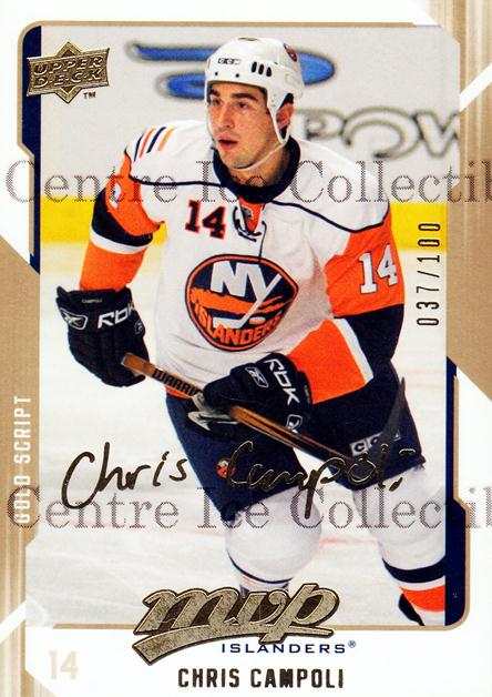 2008-09 Upper Deck MVP Gold Script #186 Chris Campoli<br/>2 In Stock - $5.00 each - <a href=https://centericecollectibles.foxycart.com/cart?name=2008-09%20Upper%20Deck%20MVP%20Gold%20Script%20%23186%20Chris%20Campoli...&quantity_max=2&price=$5.00&code=503348 class=foxycart> Buy it now! </a>