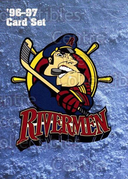 1996-97 Peoria Rivermen #25 Header Card, Checklist<br/>5 In Stock - $3.00 each - <a href=https://centericecollectibles.foxycart.com/cart?name=1996-97%20Peoria%20Rivermen%20%2325%20Header%20Card,%20Ch...&price=$3.00&code=50450 class=foxycart> Buy it now! </a>