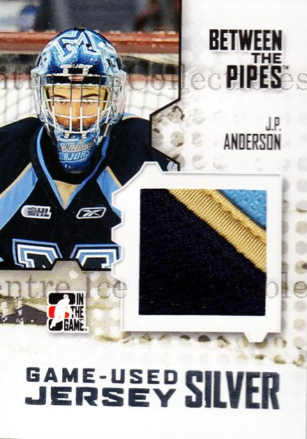 2009-10 Between The Pipes Jersey Silver #1 JP Anderson<br/>1 In Stock - $10.00 each - <a href=https://centericecollectibles.foxycart.com/cart?name=2009-10%20Between%20The%20Pipes%20Jersey%20Silver%20%231%20JP%20Anderson...&quantity_max=1&price=$10.00&code=505678 class=foxycart> Buy it now! </a>