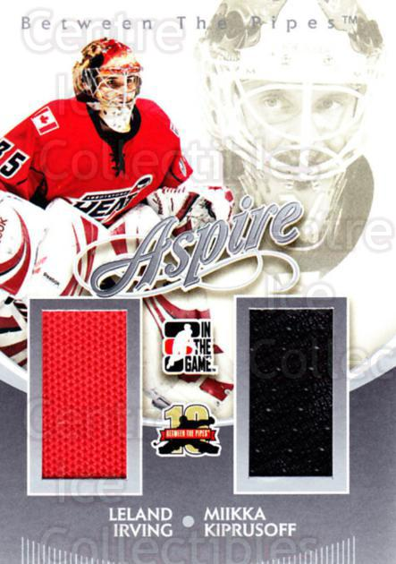 2011-12 Between The Pipes Aspire Jersey Silver #2 Leland Irving, Miikka Kiprusoff<br/>1 In Stock - $5.00 each - <a href=https://centericecollectibles.foxycart.com/cart?name=2011-12%20Between%20The%20Pipes%20Aspire%20Jersey%20Silver%20%232%20Leland%20Irving,%20...&quantity_max=1&price=$5.00&code=506529 class=foxycart> Buy it now! </a>