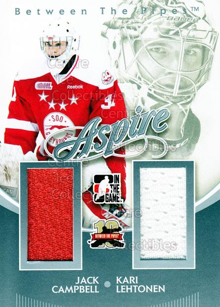 2011-12 Between The Pipes Aspire Jersey Silver #8 Jack Campbell, Kari Lehtonen<br/>2 In Stock - $5.00 each - <a href=https://centericecollectibles.foxycart.com/cart?name=2011-12%20Between%20The%20Pipes%20Aspire%20Jersey%20Silver%20%238%20Jack%20Campbell,%20...&quantity_max=2&price=$5.00&code=506535 class=foxycart> Buy it now! </a>