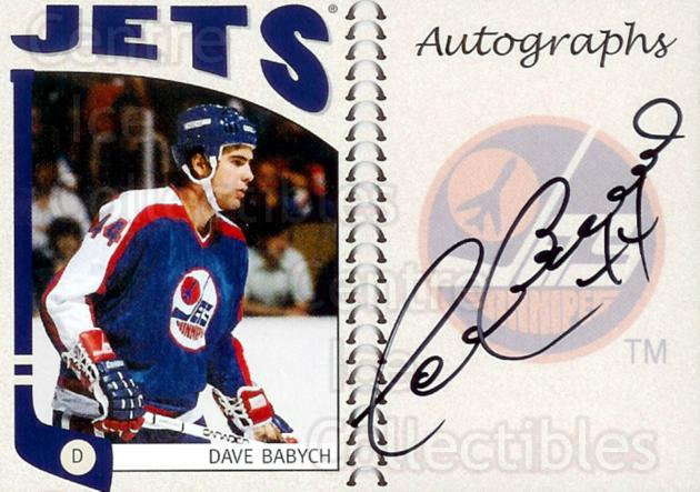 2004-05 ITG Franchises Canadian Auto #DBB Dave Babych<br/>5 In Stock - $10.00 each - <a href=https://centericecollectibles.foxycart.com/cart?name=2004-05%20ITG%20Franchises%20Canadian%20Auto%20%23DBB%20Dave%20Babych...&quantity_max=5&price=$10.00&code=507602 class=foxycart> Buy it now! </a>