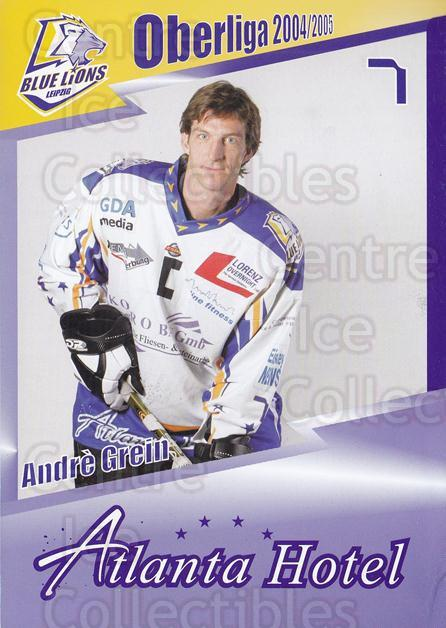 2004-05 German Leipzig Blue Lions Postcards #1 Andre Grein<br/>1 In Stock - $3.00 each - <a href=https://centericecollectibles.foxycart.com/cart?name=2004-05%20German%20Leipzig%20Blue%20Lions%20Postcards%20%231%20Andre%20Grein...&quantity_max=1&price=$3.00&code=508162 class=foxycart> Buy it now! </a>