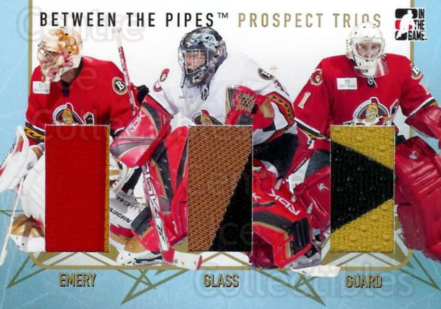 2006-07 Between The Pipes Prospect Trios Gold #3 Ray Emery, Jeff Glass, Kelly Guard<br/>1 In Stock - $15.00 each - <a href=https://centericecollectibles.foxycart.com/cart?name=2006-07%20Between%20The%20Pipes%20Prospect%20Trios%20Gold%20%233%20Ray%20Emery,%20Jeff...&quantity_max=1&price=$15.00&code=508639 class=foxycart> Buy it now! </a>