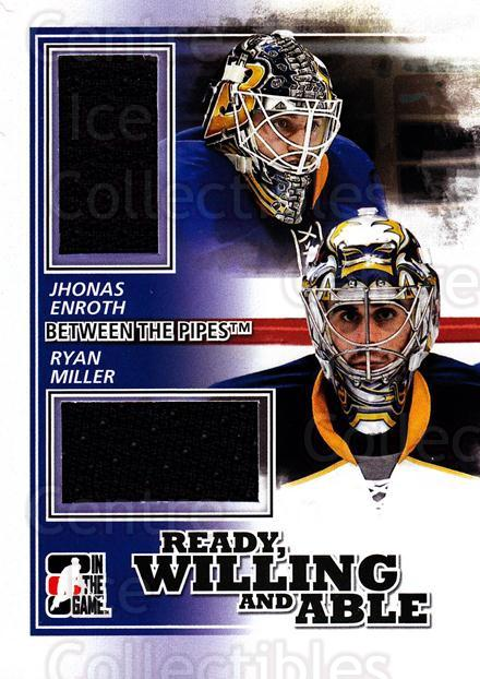 2010-11 Between The Pipes Ready, Willing and Able Jersey Black #3 Ryan Miller, Jhonas Enroth<br/>1 In Stock - $5.00 each - <a href=https://centericecollectibles.foxycart.com/cart?name=2010-11%20Between%20The%20Pipes%20Ready,%20Willing%20and%20Able%20Jersey%20Black%20%233%20Ryan%20Miller,%20Jh...&quantity_max=1&price=$5.00&code=508685 class=foxycart> Buy it now! </a>