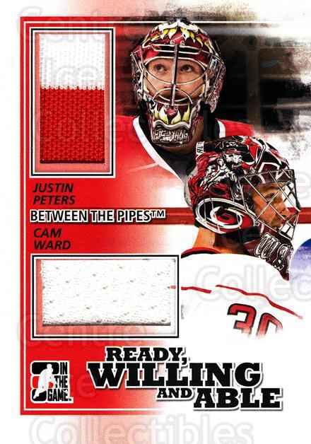 2010-11 Between The Pipes Ready, Willing and Able Jersey Black #11 Cam Ward, Justin Peters<br/>1 In Stock - $5.00 each - <a href=https://centericecollectibles.foxycart.com/cart?name=2010-11%20Between%20The%20Pipes%20Ready,%20Willing%20and%20Able%20Jersey%20Black%20%2311%20Cam%20Ward,%20Justi...&price=$5.00&code=508693 class=foxycart> Buy it now! </a>