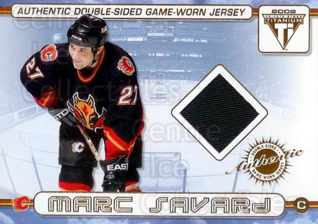 2001-02 Titanium Double Sided Jersey #5 Marc Savard, Roman Turek<br/>1 In Stock - $5.00 each - <a href=https://centericecollectibles.foxycart.com/cart?name=2001-02%20Titanium%20Double%20Sided%20Jersey%20%235%20Marc%20Savard,%20Ro...&quantity_max=1&price=$5.00&code=508994 class=foxycart> Buy it now! </a>