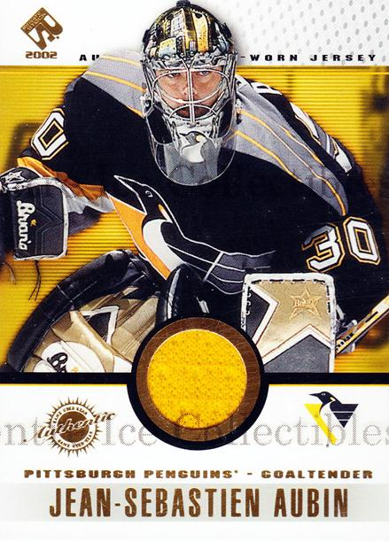 2001-02 Private Stock Game Gear #75 Jean-Sebastien Aubin<br/>1 In Stock - $5.00 each - <a href=https://centericecollectibles.foxycart.com/cart?name=2001-02%20Private%20Stock%20Game%20Gear%20%2375%20Jean-Sebastien%20...&quantity_max=1&price=$5.00&code=509244 class=foxycart> Buy it now! </a>
