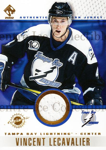 2001-02 Private Stock Game Gear #93 Vincent Lecavalier<br/>2 In Stock - $5.00 each - <a href=https://centericecollectibles.foxycart.com/cart?name=2001-02%20Private%20Stock%20Game%20Gear%20%2393%20Vincent%20Lecaval...&quantity_max=2&price=$5.00&code=509262 class=foxycart> Buy it now! </a>