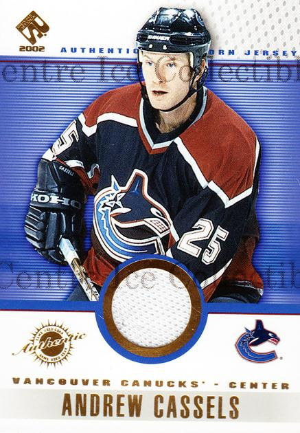2001-02 Private Stock Game Gear #98 Andrew Cassels<br/>2 In Stock - $5.00 each - <a href=https://centericecollectibles.foxycart.com/cart?name=2001-02%20Private%20Stock%20Game%20Gear%20%2398%20Andrew%20Cassels...&quantity_max=2&price=$5.00&code=509267 class=foxycart> Buy it now! </a>