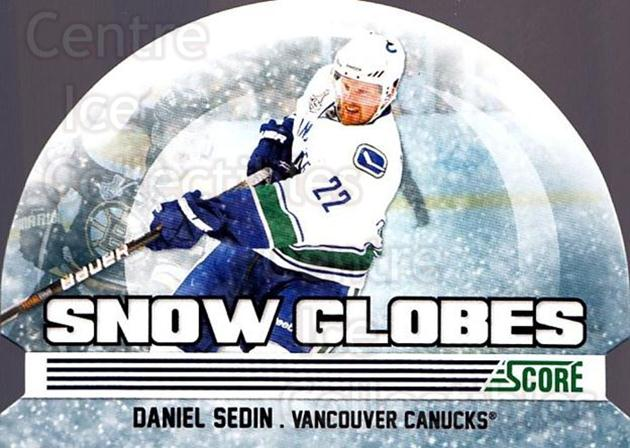 2011-12 Score Snow Globes #1 Daniel Sedin<br/>1 In Stock - $3.00 each - <a href=https://centericecollectibles.foxycart.com/cart?name=2011-12%20Score%20Snow%20Globes%20%231%20Daniel%20Sedin...&price=$3.00&code=510566 class=foxycart> Buy it now! </a>