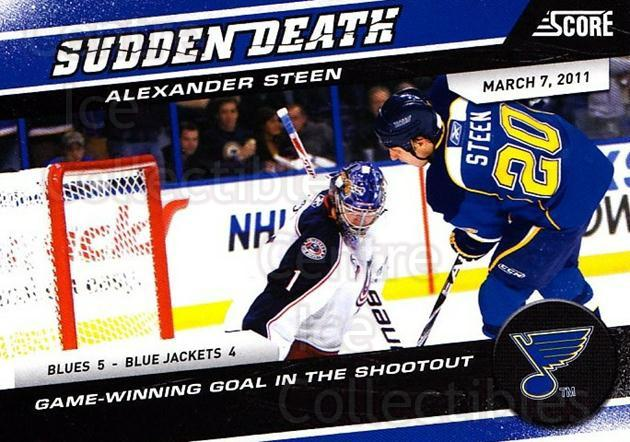 2011-12 Score Sudden Death #17 Alexander Steen<br/>2 In Stock - $2.00 each - <a href=https://centericecollectibles.foxycart.com/cart?name=2011-12%20Score%20Sudden%20Death%20%2317%20Alexander%20Steen...&quantity_max=2&price=$2.00&code=510607 class=foxycart> Buy it now! </a>