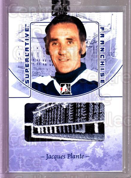 2008-09 ITG Superlative Franchise Patch Blue #23 Jacques Plante<br/>3 In Stock - $15.00 each - <a href=https://centericecollectibles.foxycart.com/cart?name=2008-09%20ITG%20Superlative%20Franchise%20Patch%20Blue%20%2323%20Jacques%20Plante...&quantity_max=3&price=$15.00&code=511372 class=foxycart> Buy it now! </a>