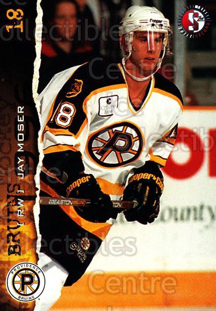1996-97 Providence Bruins #8 Jay Moser<br/>9 In Stock - $3.00 each - <a href=https://centericecollectibles.foxycart.com/cart?name=1996-97%20Providence%20Bruins%20%238%20Jay%20Moser...&price=$3.00&code=51220 class=foxycart> Buy it now! </a>