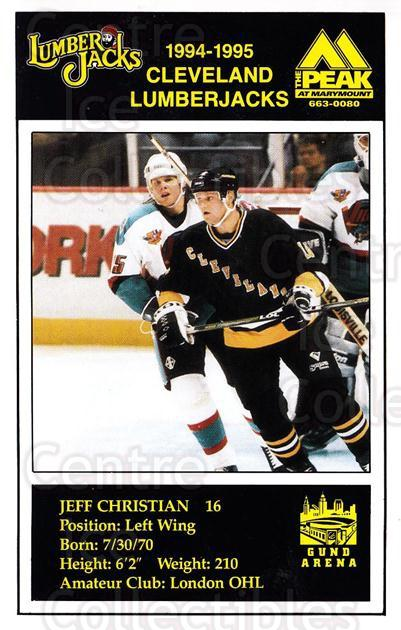 1994-95 Cleveland Lumberjacks Postcards #4 Jeff Christian<br/>1 In Stock - $3.00 each - <a href=https://centericecollectibles.foxycart.com/cart?name=1994-95%20Cleveland%20Lumberjacks%20Postcards%20%234%20Jeff%20Christian...&quantity_max=1&price=$3.00&code=512374 class=foxycart> Buy it now! </a>