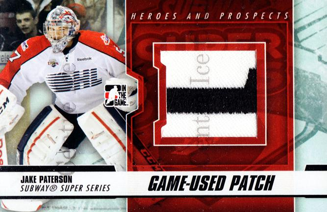 2012-13 ITG Heroes and Prospects Subway Patch Black #3 Jake Paterson<br/>1 In Stock - $10.00 each - <a href=https://centericecollectibles.foxycart.com/cart?name=2012-13%20ITG%20Heroes%20and%20Prospects%20Subway%20Patch%20Black%20%233%20Jake%20Paterson...&quantity_max=1&price=$10.00&code=512725 class=foxycart> Buy it now! </a>