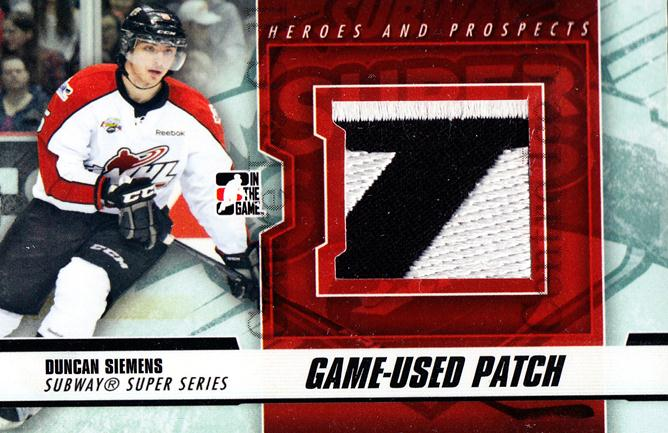 2012-13 ITG Heroes and Prospects Subway Patch Black #38 Duncan Siemens<br/>1 In Stock - $10.00 each - <a href=https://centericecollectibles.foxycart.com/cart?name=2012-13%20ITG%20Heroes%20and%20Prospects%20Subway%20Patch%20Black%20%2338%20Duncan%20Siemens...&quantity_max=1&price=$10.00&code=512760 class=foxycart> Buy it now! </a>