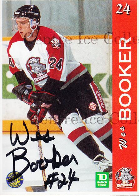 1996-97 Sault Ste. Marie Greyhounds Autographed #1 Wes Booker<br/>4 In Stock - $3.00 each - <a href=https://centericecollectibles.foxycart.com/cart?name=1996-97%20Sault%20Ste.%20Marie%20Greyhounds%20Autographed%20%231%20Wes%20Booker...&quantity_max=4&price=$3.00&code=51305 class=foxycart> Buy it now! </a>