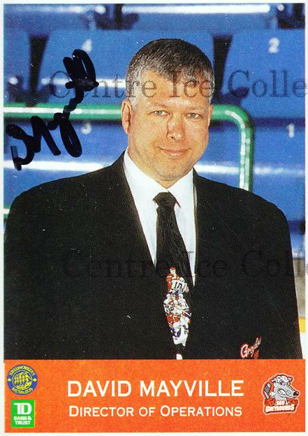 1996-97 Sault Ste. Marie Greyhounds Autographed #10 David Mayville<br/>3 In Stock - $3.00 each - <a href=https://centericecollectibles.foxycart.com/cart?name=1996-97%20Sault%20Ste.%20Marie%20Greyhounds%20Autographed%20%2310%20David%20Mayville...&quantity_max=3&price=$3.00&code=51306 class=foxycart> Buy it now! </a>