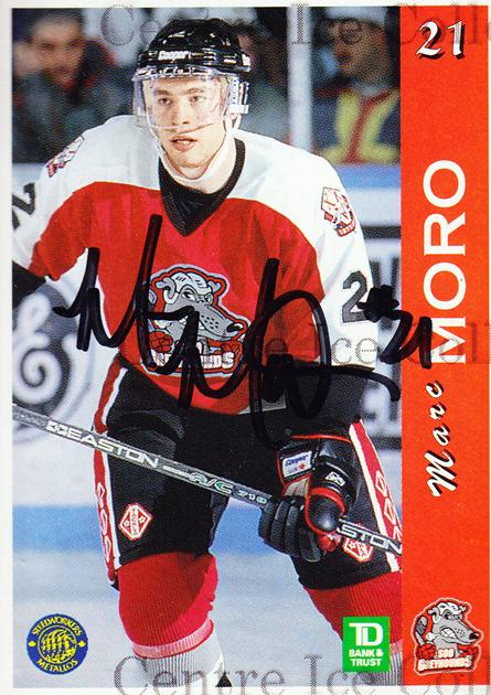 1996-97 Sault Ste. Marie Greyhounds Autographed #12 Marc Moro<br/>3 In Stock - $3.00 each - <a href=https://centericecollectibles.foxycart.com/cart?name=1996-97%20Sault%20Ste.%20Marie%20Greyhounds%20Autographed%20%2312%20Marc%20Moro...&quantity_max=3&price=$3.00&code=51308 class=foxycart> Buy it now! </a>