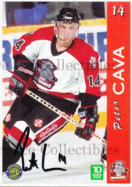 1996-97 Sault Ste. Marie Greyhounds Autographed #3 Peter Cava<br/>2 In Stock - $3.00 each - <a href=https://centericecollectibles.foxycart.com/cart?name=1996-97%20Sault%20Ste.%20Marie%20Greyhounds%20Autographed%20%233%20Peter%20Cava...&quantity_max=2&price=$3.00&code=51326 class=foxycart> Buy it now! </a>