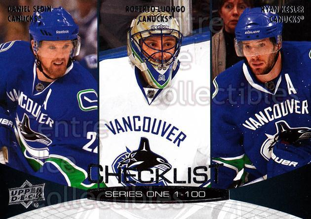 2011-12 Upper Deck #199 Daniel Sedin, Roberto Luongo, Ryan Kesler<br/>10 In Stock - $1.00 each - <a href=https://centericecollectibles.foxycart.com/cart?name=2011-12%20Upper%20Deck%20%23199%20Daniel%20Sedin,%20R...&quantity_max=10&price=$1.00&code=514000 class=foxycart> Buy it now! </a>