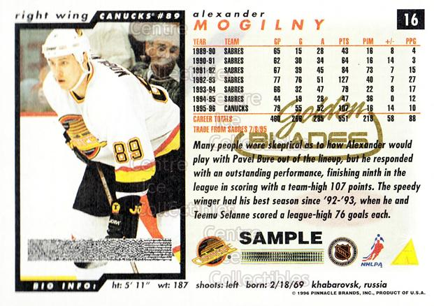 1996-97 Score Golden Blades Promos Samples #16 Alexander Mogilny<br/>4 In Stock - $3.00 each - <a href=https://centericecollectibles.foxycart.com/cart?name=1996-97%20Score%20Golden%20Blades%20Promos%20Samples%20%2316%20Alexander%20Mogil...&quantity_max=4&price=$3.00&code=51611 class=foxycart> Buy it now! </a>
