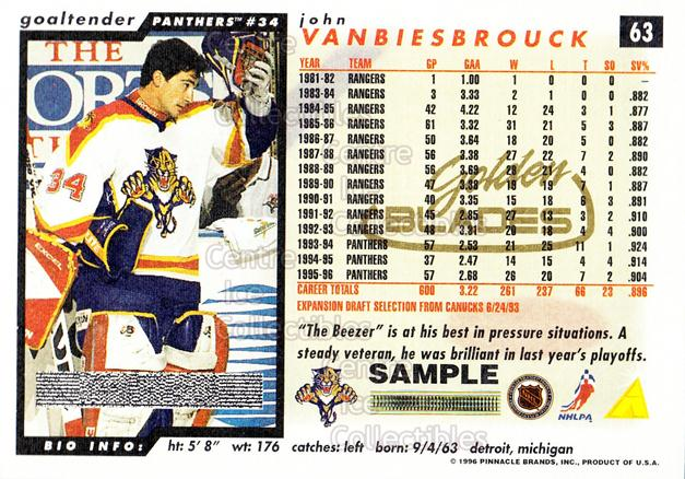 1996-97 Score Golden Blades Promos Samples #63 John Vanbiesbrouck<br/>3 In Stock - $3.00 each - <a href=https://centericecollectibles.foxycart.com/cart?name=1996-97%20Score%20Golden%20Blades%20Promos%20Samples%20%2363%20John%20Vanbiesbro...&quantity_max=3&price=$3.00&code=51614 class=foxycart> Buy it now! </a>