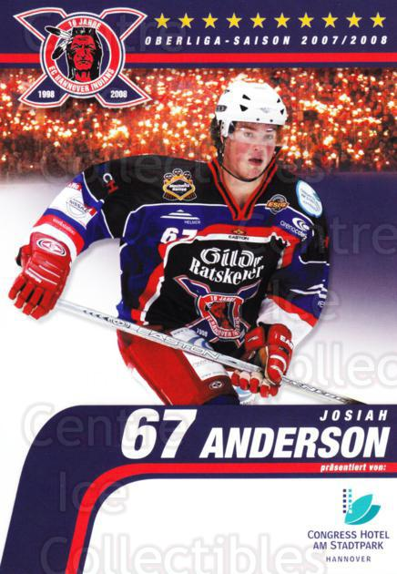 2007-08 German Hannover Indians Postcards #2 Josiah Anderson<br/>1 In Stock - $3.00 each - <a href=https://centericecollectibles.foxycart.com/cart?name=2007-08%20German%20Hannover%20Indians%20Postcards%20%232%20Josiah%20Anderson...&quantity_max=1&price=$3.00&code=516478 class=foxycart> Buy it now! </a>
