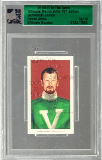 2010-11 ITG Ultimate Memorabilia Centennial #10 Daniel Sedin<br/>1 In Stock - $25.00 each - <a href=https://centericecollectibles.foxycart.com/cart?name=2010-11%20ITG%20Ultimate%20Memorabilia%20Centennial%20%2310%20Daniel%20Sedin...&price=$25.00&code=516851 class=foxycart> Buy it now! </a>