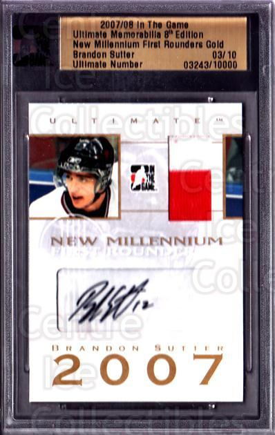 2007-08 ITG Ultimate Memorabilia Millennium 1st Rounders Gold #23 Brandon Sutter<br/>1 In Stock - $20.00 each - <a href=https://centericecollectibles.foxycart.com/cart?name=2007-08%20ITG%20Ultimate%20Memorabilia%20Millennium%201st%20Rounders%20Gold%20%2323%20Brandon%20Sutter...&price=$20.00&code=517595 class=foxycart> Buy it now! </a>