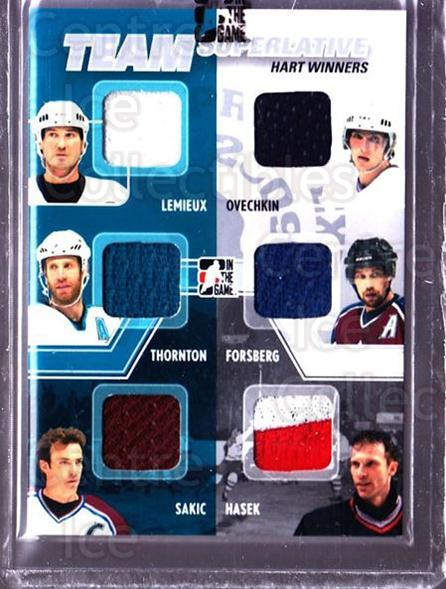 2009 ITG Superlative Spring Expo Team Superlative #16 Mario Lemieux, Joe Thornton, Joe Sakic, Alexander Ovechkin, Dominik Hasek, Peter Forsberg<br/>1 In Stock - $40.00 each - <a href=https://centericecollectibles.foxycart.com/cart?name=2009%20ITG%20Superlative%20Spring%20Expo%20Team%20Superlative%20%2316%20Mario%20Lemieux,%20...&price=$40.00&code=518194 class=foxycart> Buy it now! </a>