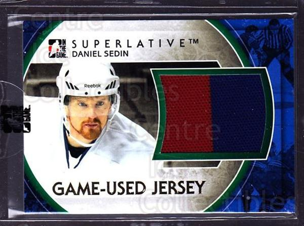 2012-13 ITG Superlative Jersey Gold #8 Daniel Sedin<br/>1 In Stock - $20.00 each - <a href=https://centericecollectibles.foxycart.com/cart?name=2012-13%20ITG%20Superlative%20Jersey%20Gold%20%238%20Daniel%20Sedin...&price=$20.00&code=518266 class=foxycart> Buy it now! </a>