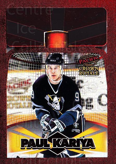 1997-98 Crown Royale Lamplighters Cel-Fusion Die-Cuts #1 Paul Kariya<br/>1 In Stock - $10.00 each - <a href=https://centericecollectibles.foxycart.com/cart?name=1997-98%20Crown%20Royale%20Lamplighters%20Cel-Fusion%20Die-Cuts%20%231%20Paul%20Kariya...&quantity_max=1&price=$10.00&code=518582 class=foxycart> Buy it now! </a>