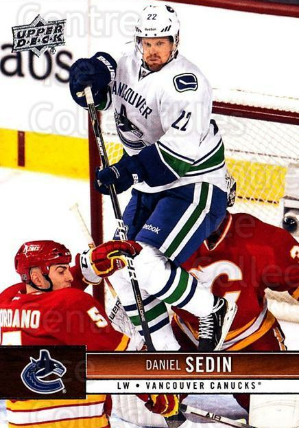 2012-13 Upper Deck #186 Daniel Sedin<br/>3 In Stock - $1.00 each - <a href=https://centericecollectibles.foxycart.com/cart?name=2012-13%20Upper%20Deck%20%23186%20Daniel%20Sedin...&price=$1.00&code=519170 class=foxycart> Buy it now! </a>