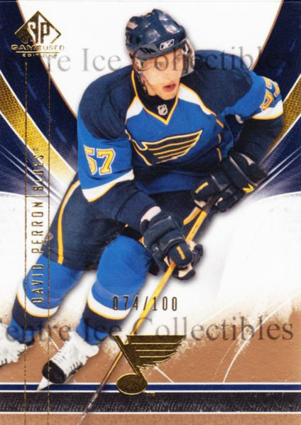 2009-10 Sp Game Used Gold #85 David Perron<br/>1 In Stock - $5.00 each - <a href=https://centericecollectibles.foxycart.com/cart?name=2009-10%20Sp%20Game%20Used%20Gold%20%2385%20David%20Perron...&quantity_max=1&price=$5.00&code=522414 class=foxycart> Buy it now! </a>