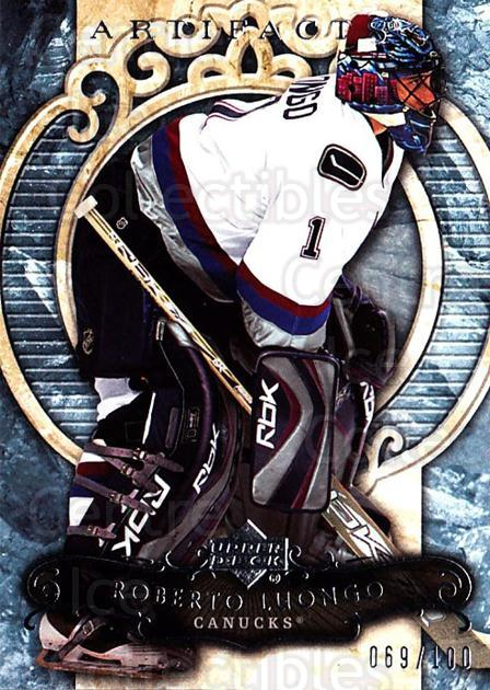 2007-08 UD Artifacts Silver #60 Roberto Luongo<br/>1 In Stock - $5.00 each - <a href=https://centericecollectibles.foxycart.com/cart?name=2007-08%20UD%20Artifacts%20Silver%20%2360%20Roberto%20Luongo...&quantity_max=1&price=$5.00&code=523555 class=foxycart> Buy it now! </a>