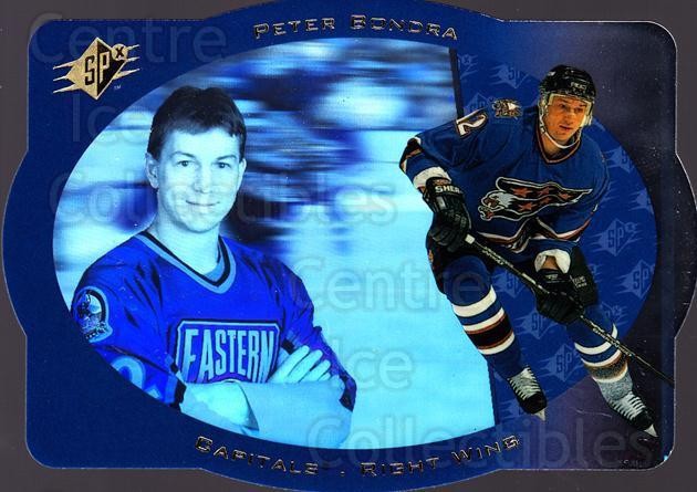 1996-97 SPx #49 Peter Bondra<br/>6 In Stock - $1.00 each - <a href=https://centericecollectibles.foxycart.com/cart?name=1996-97%20SPx%20%2349%20Peter%20Bondra...&quantity_max=6&price=$1.00&code=52468 class=foxycart> Buy it now! </a>