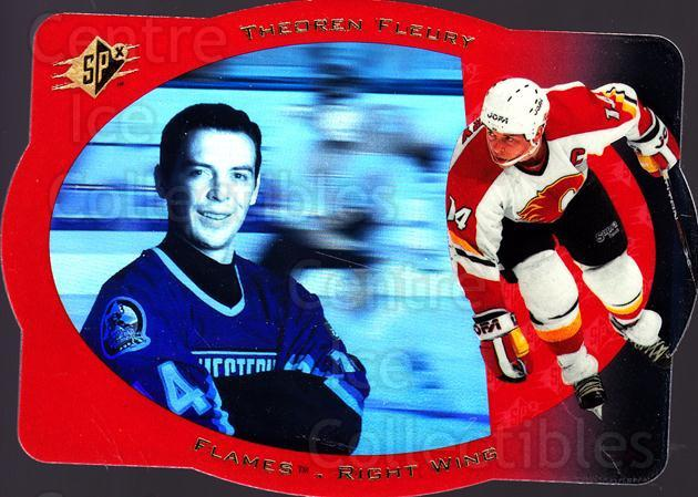 1996-97 SPx #5 Theo Fleury<br/>6 In Stock - $1.00 each - <a href=https://centericecollectibles.foxycart.com/cart?name=1996-97%20SPx%20%235%20Theo%20Fleury...&quantity_max=6&price=$1.00&code=52469 class=foxycart> Buy it now! </a>