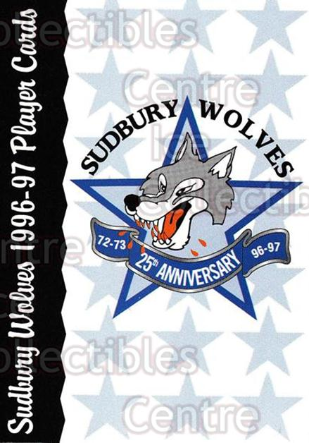1996-97 Sudbury Wolves #26 Header Card, Sudbury Wolves<br/>6 In Stock - $3.00 each - <a href=https://centericecollectibles.foxycart.com/cart?name=1996-97%20Sudbury%20Wolves%20%2326%20Header%20Card,%20Su...&price=$3.00&code=52512 class=foxycart> Buy it now! </a>