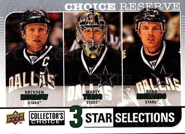 2008-09 Collectors Choice Reserve Silver #260 Brenden Morrow, Marty Turco, Brad Richards<br/>2 In Stock - $2.00 each - <a href=https://centericecollectibles.foxycart.com/cart?name=2008-09%20Collectors%20Choice%20Reserve%20Silver%20%23260%20Brenden%20Morrow,...&quantity_max=2&price=$2.00&code=525910 class=foxycart> Buy it now! </a>