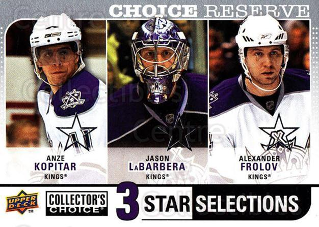 2008-09 Collectors Choice Reserve Silver #264 Anze Kopitar, Jason LaBerbera, Alexander Frolov<br/>2 In Stock - $2.00 each - <a href=https://centericecollectibles.foxycart.com/cart?name=2008-09%20Collectors%20Choice%20Reserve%20Silver%20%23264%20Anze%20Kopitar,%20J...&quantity_max=2&price=$2.00&code=525914 class=foxycart> Buy it now! </a>