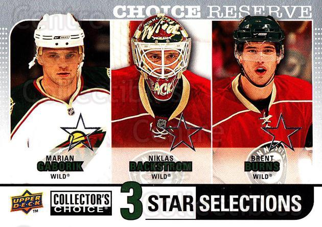2008-09 Collectors Choice Reserve Silver #265 Marian Gaborik, Niklas Backstrom, Brent Burns<br/>2 In Stock - $2.00 each - <a href=https://centericecollectibles.foxycart.com/cart?name=2008-09%20Collectors%20Choice%20Reserve%20Silver%20%23265%20Marian%20Gaborik,...&quantity_max=2&price=$2.00&code=525915 class=foxycart> Buy it now! </a>