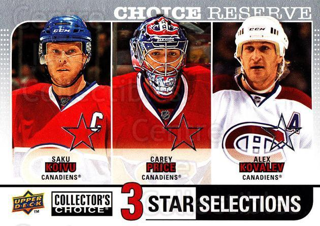 2008-09 Collectors Choice Reserve Silver #266 Saku Koivu, Carey Price, Alexei Kovalev<br/>1 In Stock - $3.00 each - <a href=https://centericecollectibles.foxycart.com/cart?name=2008-09%20Collectors%20Choice%20Reserve%20Silver%20%23266%20Saku%20Koivu,%20Car...&quantity_max=1&price=$3.00&code=525916 class=foxycart> Buy it now! </a>