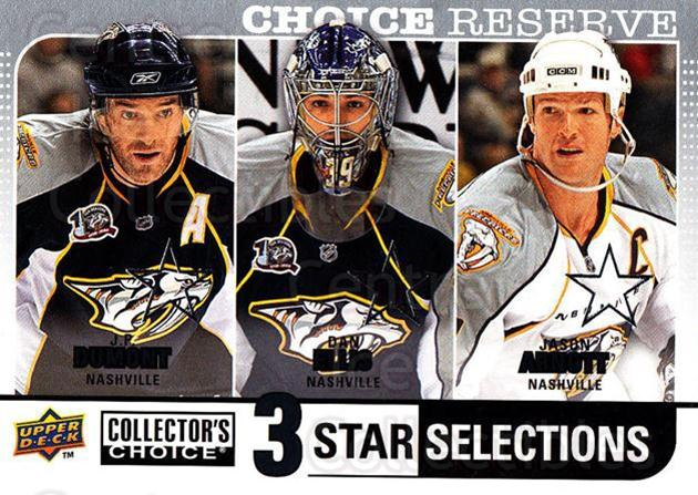 2008-09 Collectors Choice Reserve Silver #267 JP Dumont, Dan Ellis, Jason Arnott<br/>2 In Stock - $2.00 each - <a href=https://centericecollectibles.foxycart.com/cart?name=2008-09%20Collectors%20Choice%20Reserve%20Silver%20%23267%20JP%20Dumont,%20Dan%20...&quantity_max=2&price=$2.00&code=525917 class=foxycart> Buy it now! </a>