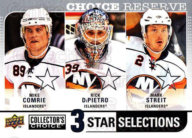 2008-09 Collectors Choice Reserve Silver #269 Mike Comrie, Rick DiPietro, Mark Streit<br/>1 In Stock - $2.00 each - <a href=https://centericecollectibles.foxycart.com/cart?name=2008-09%20Collectors%20Choice%20Reserve%20Silver%20%23269%20Mike%20Comrie,%20Ri...&quantity_max=1&price=$2.00&code=525919 class=foxycart> Buy it now! </a>