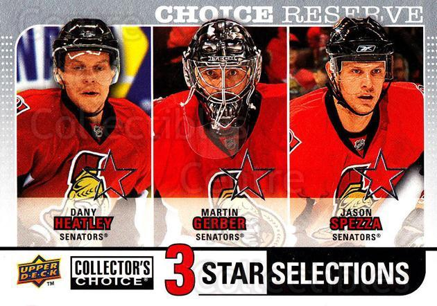 2008-09 Collectors Choice Reserve Silver #271 Dany Heatley, Martin Gerber, Jason Spezza<br/>2 In Stock - $2.00 each - <a href=https://centericecollectibles.foxycart.com/cart?name=2008-09%20Collectors%20Choice%20Reserve%20Silver%20%23271%20Dany%20Heatley,%20M...&quantity_max=2&price=$2.00&code=525921 class=foxycart> Buy it now! </a>