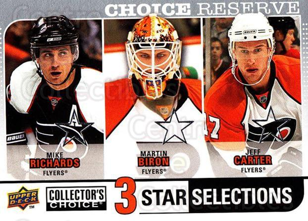 2008-09 Collectors Choice Reserve Silver #272 Mike Richards, Martin Biron, Jeff Carter<br/>1 In Stock - $2.00 each - <a href=https://centericecollectibles.foxycart.com/cart?name=2008-09%20Collectors%20Choice%20Reserve%20Silver%20%23272%20Mike%20Richards,%20...&quantity_max=1&price=$2.00&code=525922 class=foxycart> Buy it now! </a>