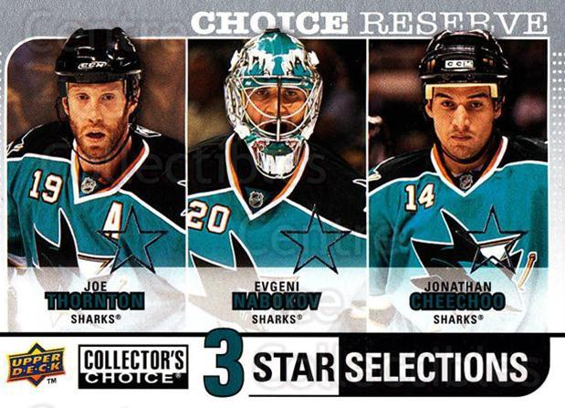 2008-09 Collectors Choice Reserve Silver #275 Joe Thornton, Evgeni Nabokov, Jonathan Cheechoo<br/>1 In Stock - $2.00 each - <a href=https://centericecollectibles.foxycart.com/cart?name=2008-09%20Collectors%20Choice%20Reserve%20Silver%20%23275%20Joe%20Thornton,%20E...&quantity_max=1&price=$2.00&code=525925 class=foxycart> Buy it now! </a>